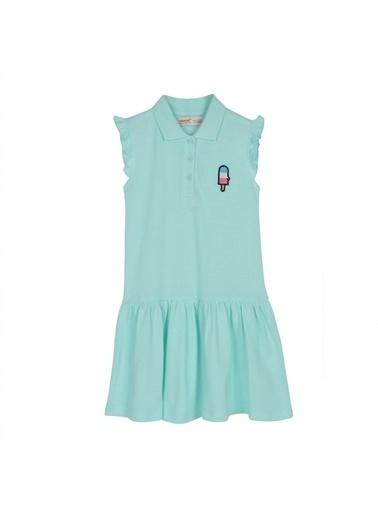 Silversun Kids Kız Çocuk Polo Yakalı Kolları Fırfır Detaylı Elbise - *Bsc 216162 Yeşil